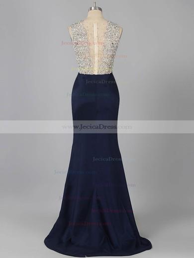 Fashion Trumpet/Mermaid Silk-like Satin with Beading Sweep Train Prom Dress #ZPJCD020101736