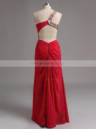 Red Backless Chiffon Beading One Shoulder Sheath/Column Original Prom Dress #ZPJCD02014517