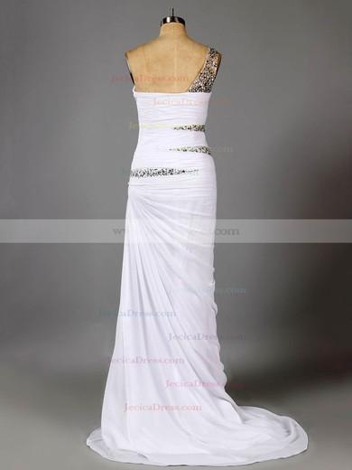 Unique Sheath/Column Chiffon Split Front One Shoulder Prom Dresses #ZPJCD02014727