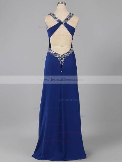Empire Black V-neck Chiffon with Beading Fabulous Backless Prom Dress #ZPJCD02014740