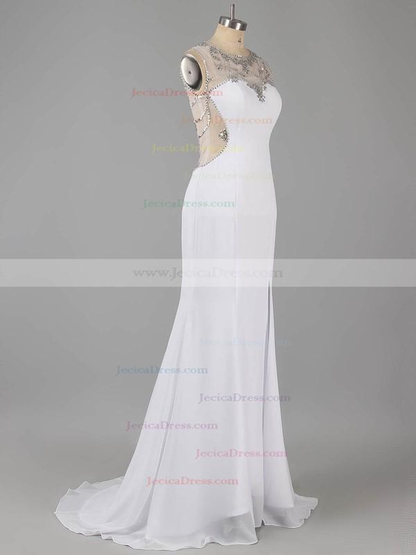 Scoop Neck Sheath/Column Chiffon with Beading Split Front Prom Dress #ZPJCD02015326