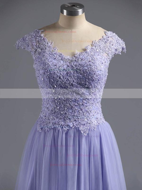 Sweet Princess Lavender Satin Tulle Beading V-neck Backless Prom Dresses #ZPJCD02016570