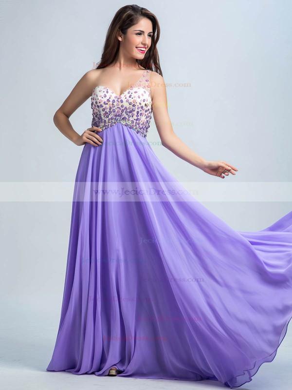 Open Back Lavender Chiffon Crystal Detailing One Shoulder Prom Dresses #ZPJCD02016732