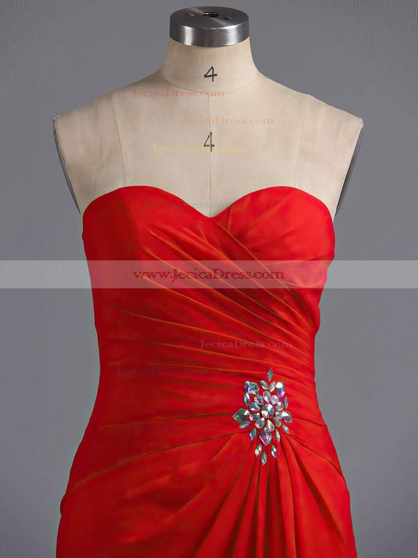 Promotion Sweetheart Chiffon Ruffles Split Front Sheath/Column Prom Dress #ZPJCD02017294
