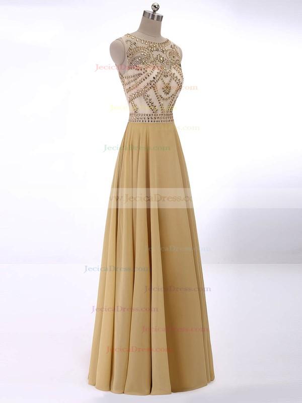 Fashion Scoop Neck Chiffon Tulle Beading Floor-length Prom Dress #ZPJCD02017415