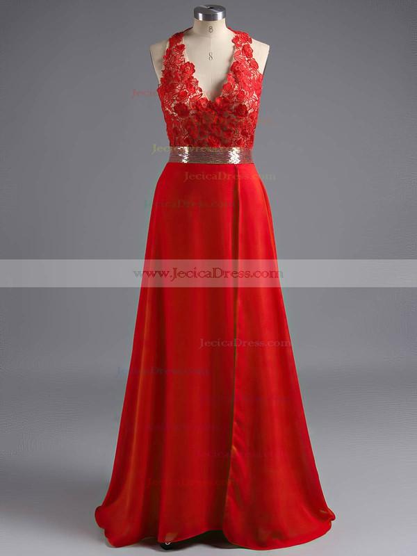 Unique V-neck Chiffon Tulle Appliques Lace Open Back Prom Dresses #ZPJCD02018534