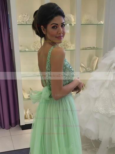 Custom A-line Scoop Neck Tulle Beading Floor-length Backless Prom Dresses #ZPJCD02018884