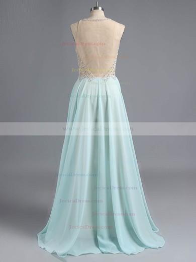 Scoop Neck Chiffon Tulle Floor-length with Beading Elegant Prom Dress #ZPJCD02019455