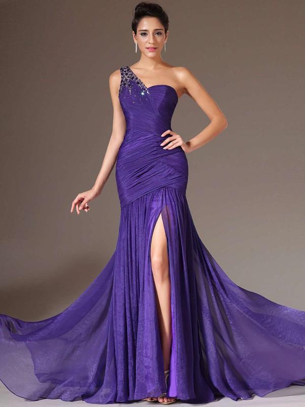Elegant Trumpet/Mermaid Chiffon Split Front One Shoulder Prom Dresses #JCD020101289