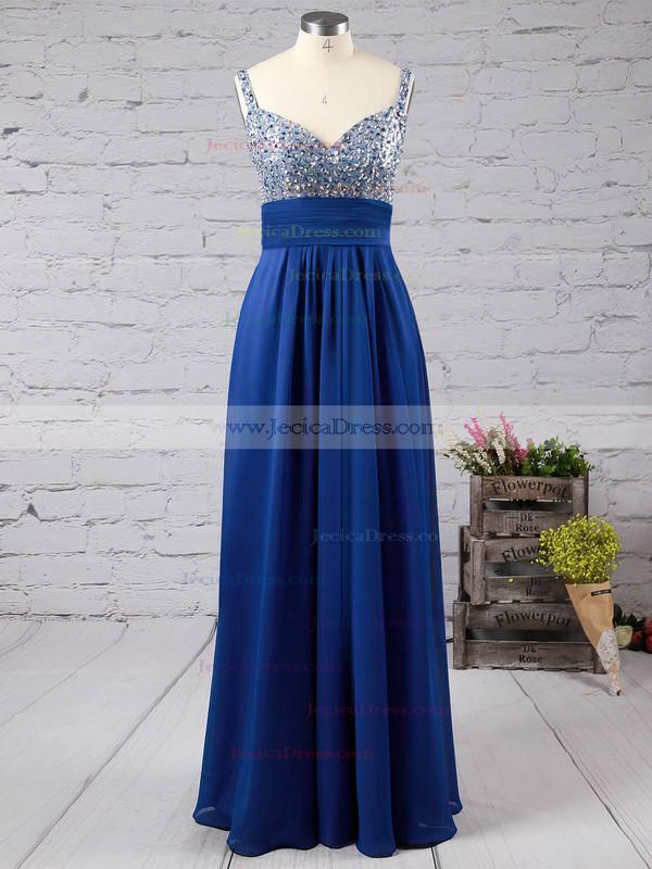 Backless A-line V-neck Chiffon Floor-length Beading Promotion Prom Dresses #JCD02013433
