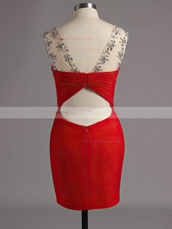 Sheath/Column Black Chiffon Tulle Beading Short/Mini Prom Dresses #ZPJCD020102221