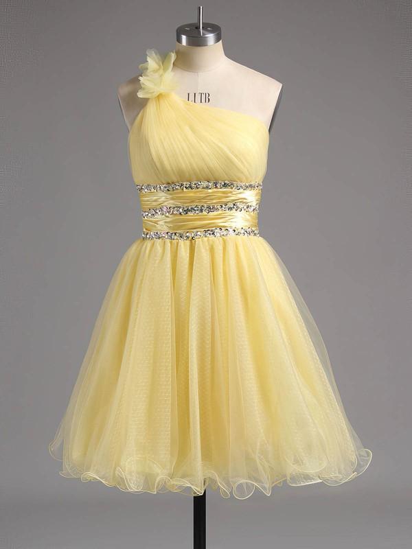 Cute Empire One Shoulder Tulle Beading Short/Mini Prom Dresses #ZPJCD02013242