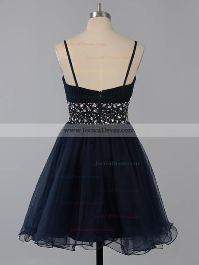 A-line Square Neckline Chiffon Beading Dark Navy Short/Mini Prom Dresses #ZPJCD02014651