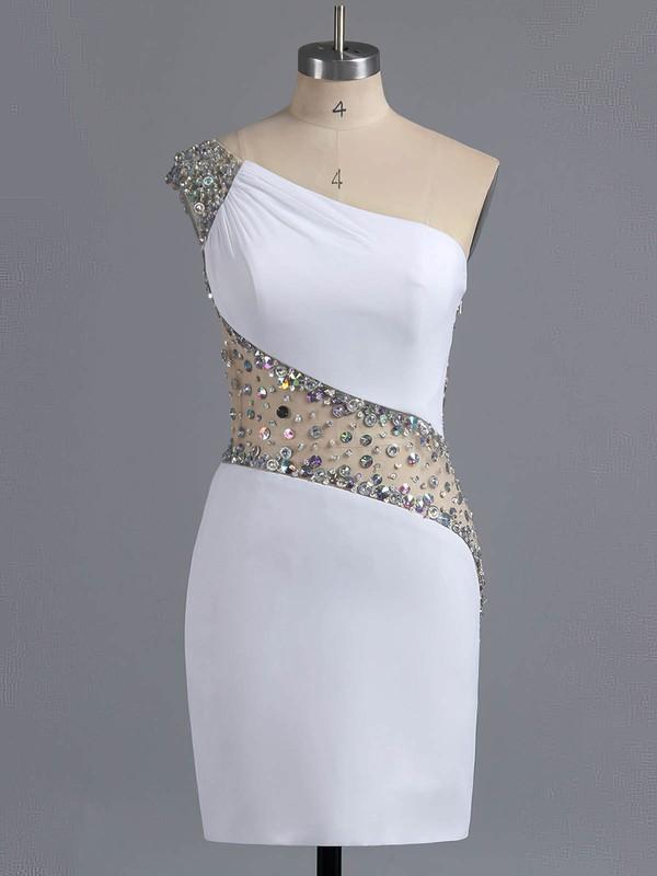 Sheath/Column Chiffon Tulle Short/Mini Crystal Detailing One Shoulder Prom Dresses #ZPJCD02016008