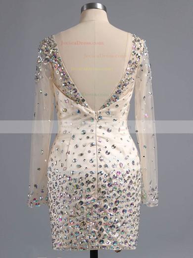 Backless Sheath/Column Scoop Neck Satin Tulle Beading Short/Mini Long Sleeve Prom Dresses #ZPJCD02016332