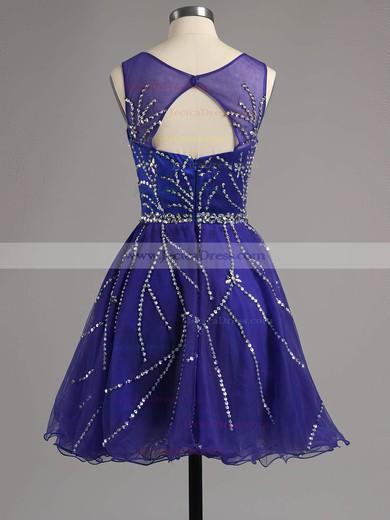 Fabulous A-line Scoop Neck Satin Tulle Beading Short/Mini Prom Dresses #ZPJCD02016341