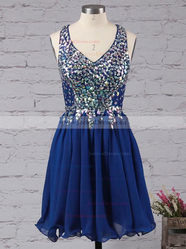 A-line V-neck Lace Chiffon Crystal Detailing Short/Mini Amazing Prom Dresses #ZPJCD02016363