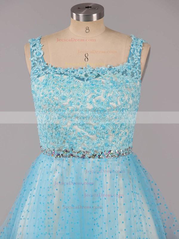 Custom Ball Gown Square Neckline Tulle Short/Mini Beading Backless Prom Dresses #ZPJCD02019155