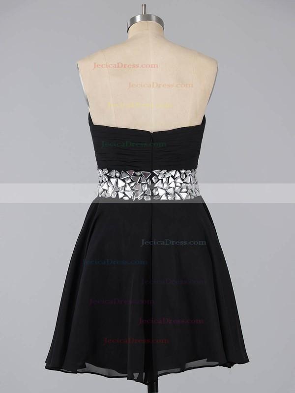 A-line Sweetheart Chiffon Short/Mini Crystal Detailing Burgundy Prom Dresses #ZPJCD02041948
