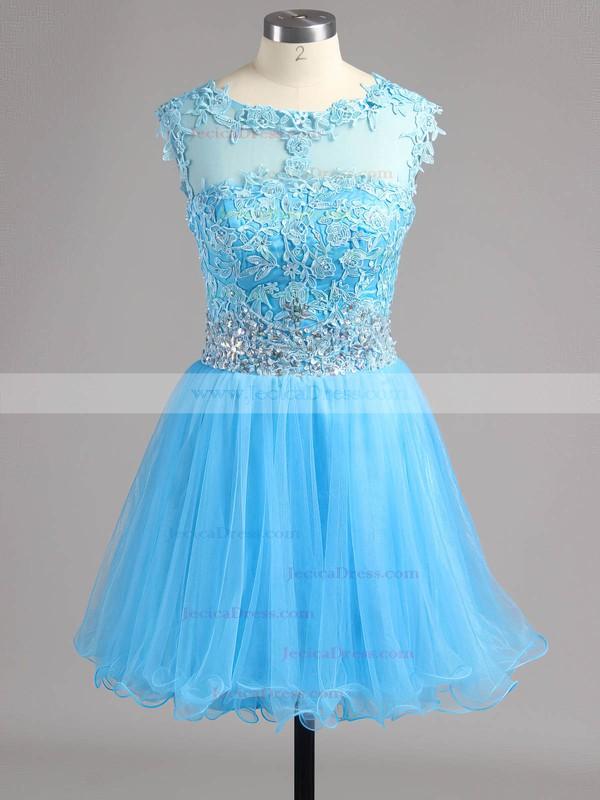 Glamorous A-line Scoop Neck Tulle Beading Short/Mini Prom Dresses #ZPJCD02042343
