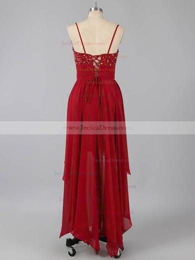Fashion A-line V-neck Chiffon Beading Asymmetrical Prom Dresses #ZPJCD02042373