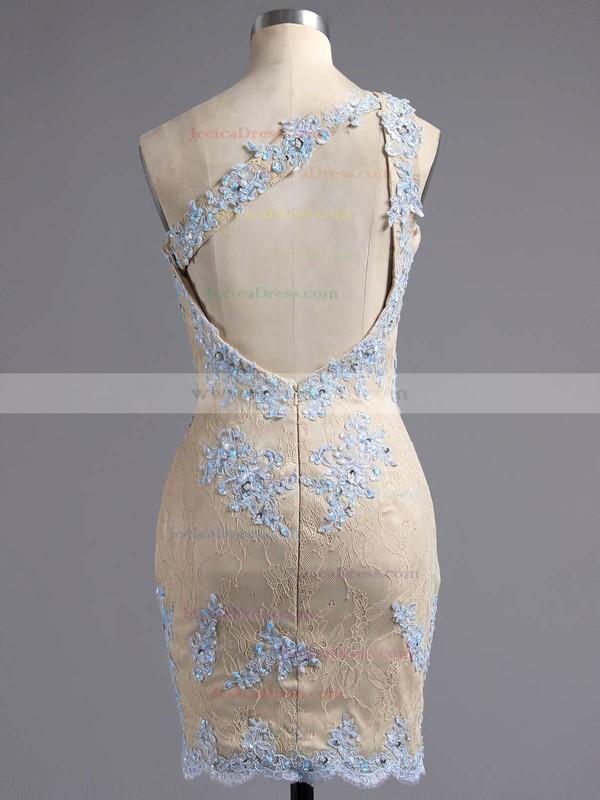 Sheath/Column One Shoulder Lace Short/Mini Appliques Lace Different Backless Prom Dresses #ZPJCD020102346