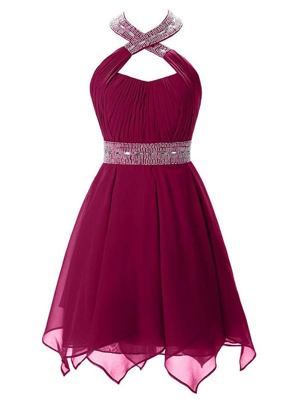 Short/Mini A-line Halter Chiffon with Beading Cheap Prom Dresses #JCD020102745
