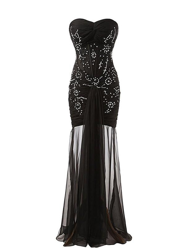 Fashion Sweetheart Black Sheath/Column Chiffon Appliques Lace Floor-length Prom Dresses #JCD020102750