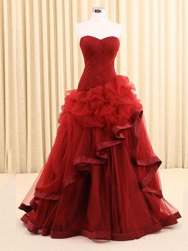 Princess Sweetheart Tulle Cascading Ruffles Floor-length Elegant Prom Dresses #JCD020102752
