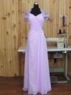 Custom V-neck A-line Chiffon Tulle Beading Floor-length Short Sleeve Prom Dresses #JCD020102766