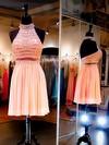 New Arrival Short/Mini A-line Halter Chiffon Tulle Beading Backless Prom Dresses #JCD020102771