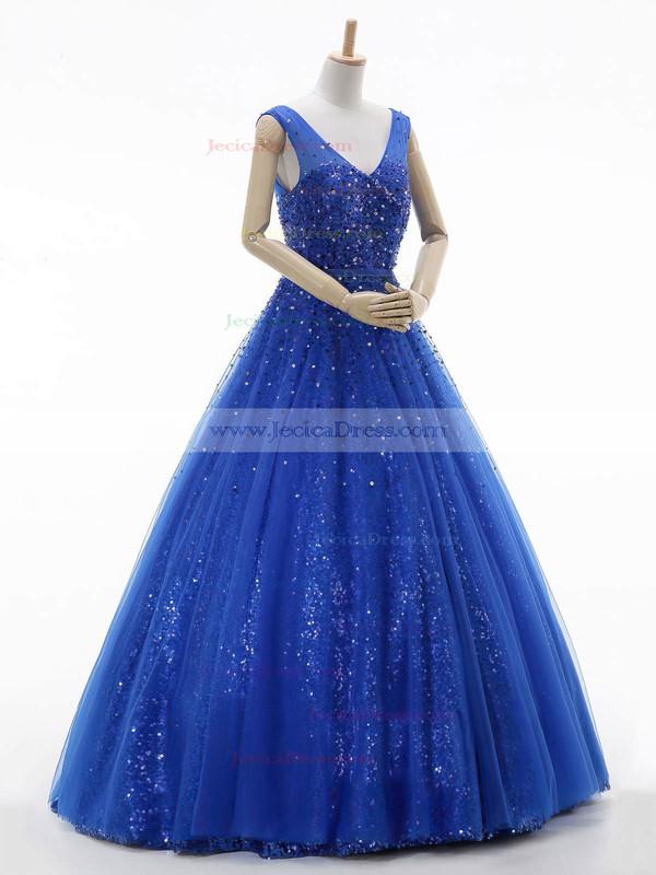 Royal Blue Princess V-neck Tulle Sequined Beading Floor-length Classy Prom Dresses #JCD020102772