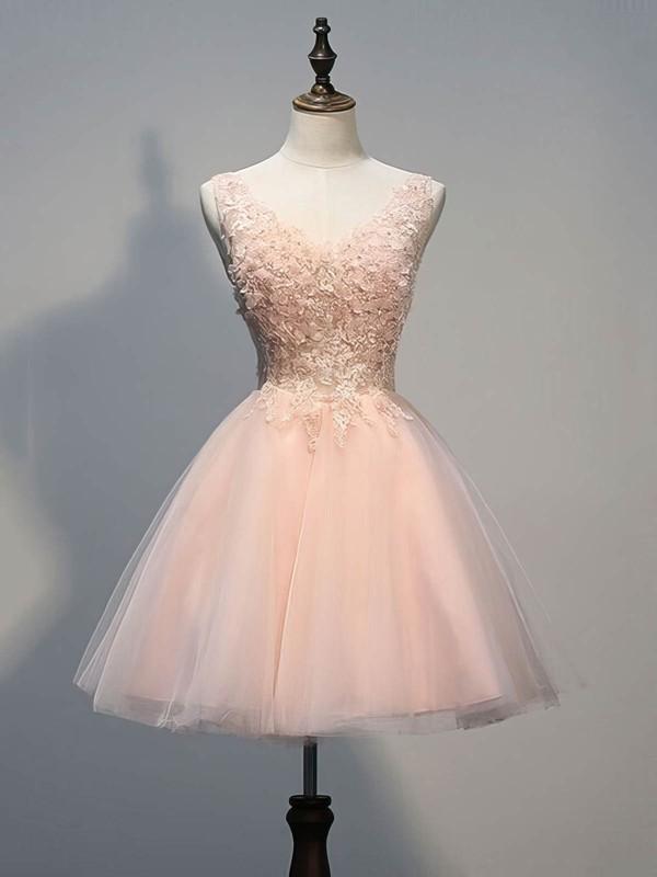 Short/Mini Princess V-neck Tulle Appliques Lace Prettiest Prom Dresses #JCD020102773
