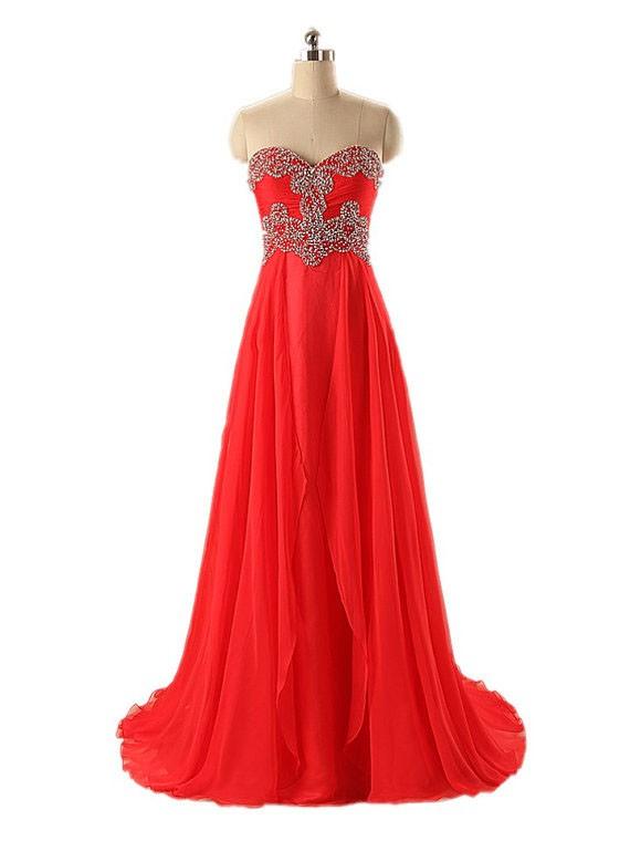 A-line Sweetheart Chiffon with Beading Sweep Train Elegant Prom Dresses #JCD020102782