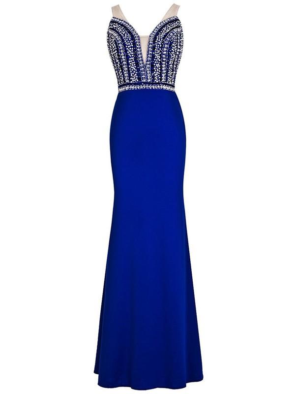 Modern Open Back V-neck Sheath/Column Tulle Silk-like Satin Beading Floor-length Prom Dress #JCD020102793