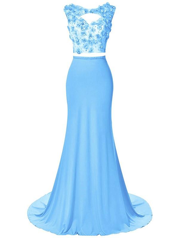 Two Piece Scoop Neck Sheath/Column Chiffon Beading Sweep Train Open Back Pretty Prom Dress #JCD020102794