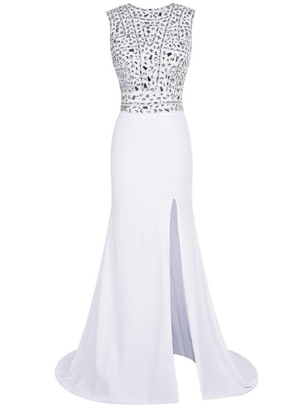 Beautiful Sheath/Column Scoop Neck White Chiffon Beading Sweep Train Prom Dresses #JCD020102796