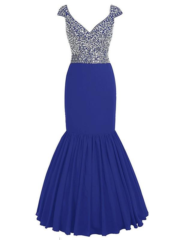 Elegant V-neck Royal Blue Chiffon with Beading Floor-length Trumpet/Mermaid Prom Dresses #JCD020102809