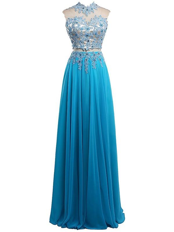 Two Piece A-line Chiffon Tulle Appliques Lace Floor-length Open Back High Neck Unique Prom Dresses #JCD020102842