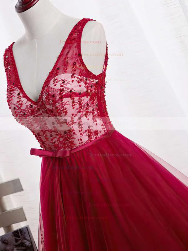 Modest Princess Burgundy Tulle Sashes / Ribbons Sweep Train V-neck Backless Prom Dresses #JCD020102852