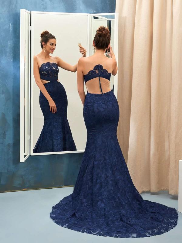 Scoop Neck Dark Navy Lace Tulle Appliques Lace Court Train Elegant Trumpet/Mermaid Prom Dresses #JCD020102867