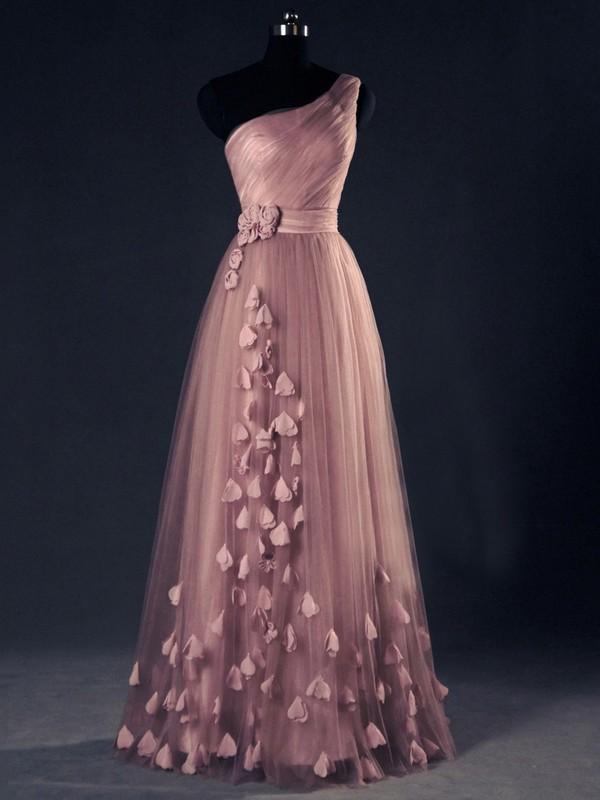 Original A-line Tulle with Flower(s) Floor-length One Shoulder Prom Dresses #JCD020102868