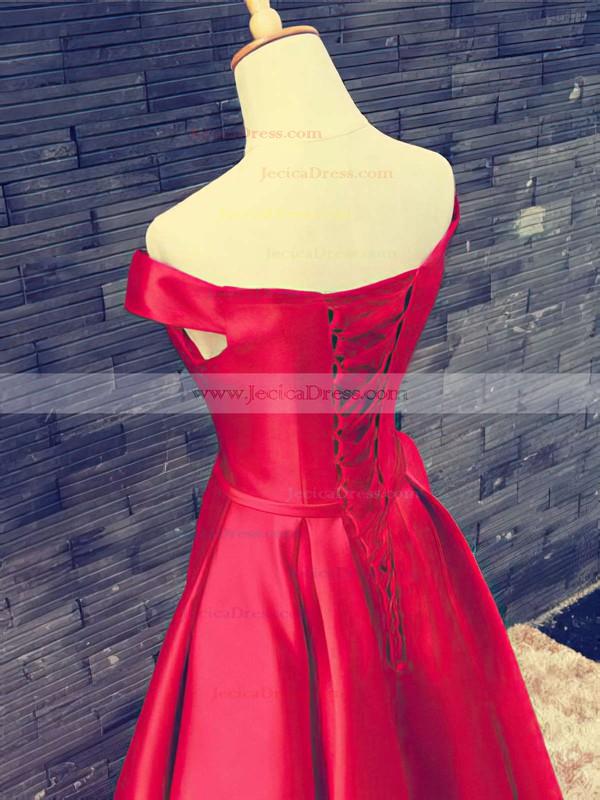 Off-the-shoulder A-line Satin Sashes / Ribbons Floor-length Vintage Short Sleeve Prom Dresses #JCD020102879