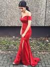 Sexy Trumpet/Mermaid Silk-like Satin Split Front Sweep Train Short Sleeve Off-the-shoulder Prom Dresses #JCD020102887