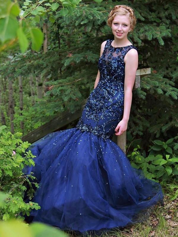 Fabulous Trumpet/Mermaid Scoop Neck Tulle Beading Floor-length Open Back Prom Dresses #JCD020102891