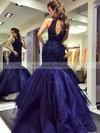 Amazing Scoop Neck Dark Navy Tulle Beading Sweep Train Trumpet/Mermaid Prom Dresses #JCD020102901