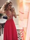 Ladies Empire V-neck Chiffon Tulle Beading Floor-length Open Back Prom Dresses #JCD020102905