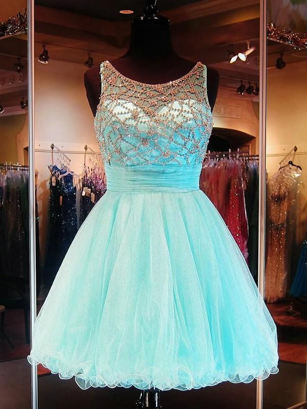 Short/Mini A-line Scoop Neck Tulle Beading Stunning Open Back Prom Dresses #JCD020102911