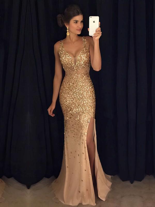 V-neck Tulle with Split Front Floor-length Hot Sheath/Column Prom Dresses #JCD020102913