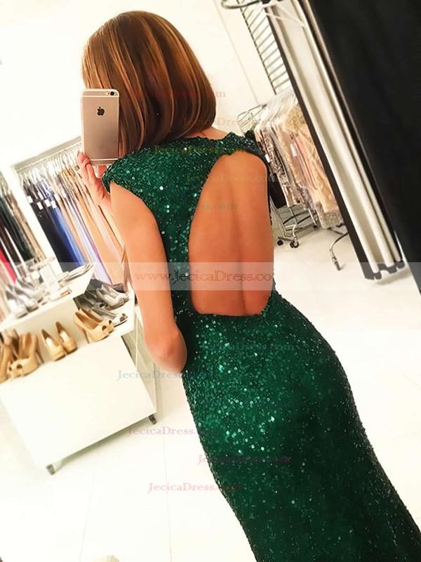 Latest Scoop Neck Sheath/Column Sequined Split Front Floor-length Open Back Prom Dresses #JCD020102920
